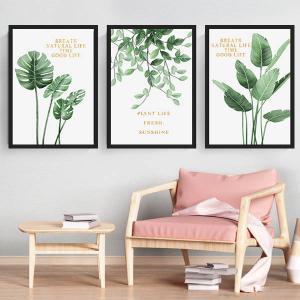 3枚セット アートパネル フレーム絵画 モンステラ フレッシュグリーン 観葉植物 ナチュラルライフ インテリア絵画 ウォールデコ|peachy