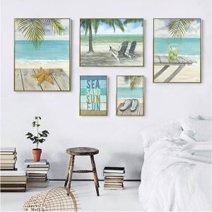 5枚セット アートパネル フレーム絵画 ハワイアン バカンス ビーチ風景 鉛筆画タッチ 水彩画  写真壁掛け インテリア絵画 ウォールデコ|peachy