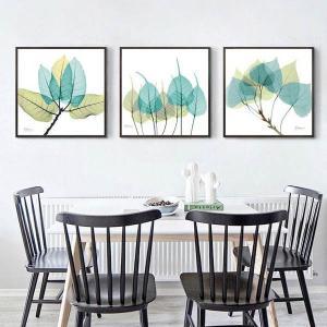 33×33cm アートパネル 3枚セット 枠付きフレーム絵画 透明植物 イラスト ボタニカル 壁掛け インテリア絵画 ウォールデコ|peachy