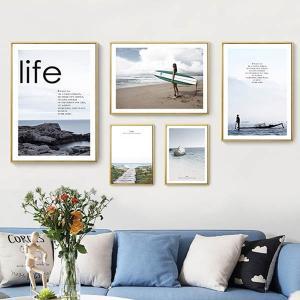 5枚セット アートパネル フレーム絵画 海 サーフィン 夏 マリンスポーツ 西海岸スタイル 写真壁掛け インテリア絵画 ウォールデコ|peachy
