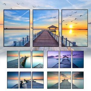 3枚セット アートパネル フレーム絵画 海岸風景 桟橋 夕日 西海岸風 コースタル 幻想的カラーインテリア絵画 ウォールデコ|peachy