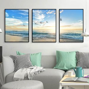 壮大な夜明けの海の風景になります。。 アメリカ西海岸風なデザインで、それぞれ単品でも壁掛けできます。...