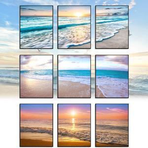 3枚セット アートパネル フレーム絵画 西海岸風 海辺 波打ち際 コースタル 夕日 海岸風景 夕日 インテリア絵画 ウォールデコ|peachy
