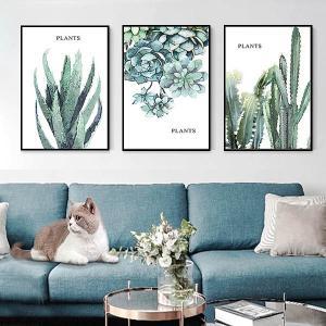 3枚セット アートパネル フレーム絵画 水彩画風 サボテン 多肉植物 アロエ 観葉植物 ボタニカル 北欧風 インテリア絵画 ウォールデコ|peachy
