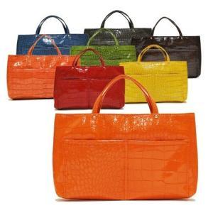 クロコ型押し レザーバッグ トートバッグ バッグインバッグ レディースバッグ ビビッドカラー ヤング ミセス(全8色)|peachy