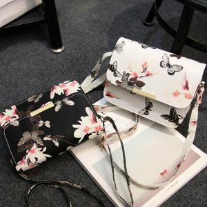 ボタニカル 花柄 ミニショルダーバッグ ポシェット バタフライ 蝶 斜め掛け ワンショルダー 水彩画風 かばん|peachy