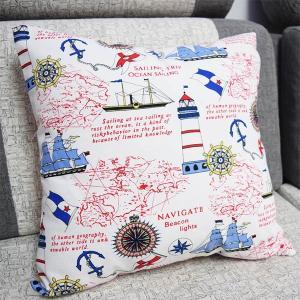 2点以上で送料無料 インテリア クッションカバー マリン柄 海 灯台 地図 ポップ 北欧 リネン 綿混合 おしゃれ 抱き枕カバー|peachy