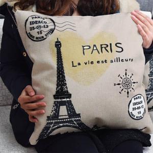 2点以上で送料無料 インテリア クッションカバー パリ エッフェル塔  モノクロ 北欧 ナチュラル ジュードタッチ おしゃれ 抱き枕カバー|peachy