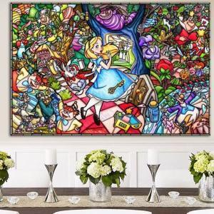 上級者向け フル ダイヤモンド刺繍 キット ビーズ刺繍 ディズニー アリス 不思議な国 モザイクアート パズルアート リハビリ 趣味 絵画 カラービーズ|peachy