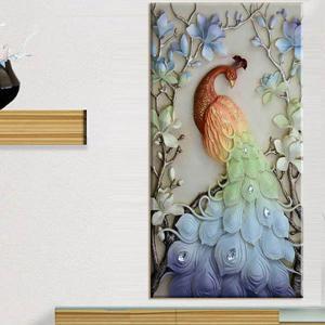 大型サイズ 上級者向け フル ダイヤモンド刺繍 キット ビーズ刺繍 パステルカラー 孔雀 クジャク アジアンテイスト モザイクアート パズルアート リハビリ|peachy