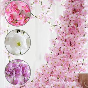全長200cm ガーランド 桜 サクラ 桃の花 フェイクグリーン 造花 ツタ ツル 花見 インテリア スワッグ イミテーション ディスプレイ|peachy
