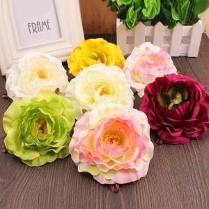 5個以上送料無料一輪   フラワーヘッド ラナンキュラス フェイクフラワー 造花 ハンドメイド作品 インテリア イミテーション ディスプレイ|peachy