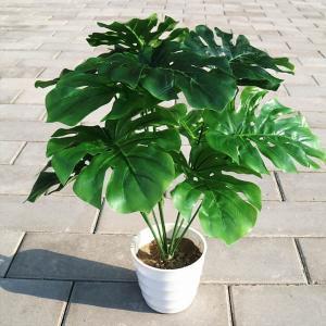 1束 ハワイアン モンステラ 南国 観葉植物 熱帯雨林 フェイクグリーン スワッグ イミテーション ディスプレイ|peachy