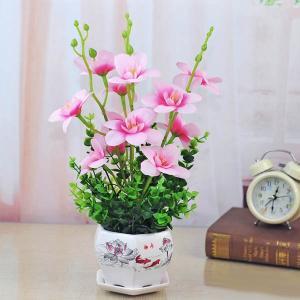 アートフラワー アジアン風陶器鉢セット フェイクグリーン 造花 リアル再現 観葉植物 インテリア スワッグ イミテーション ディスプレイ|peachy