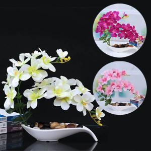 アートフラワー 胡蝶蘭 置物 フェイクグリーン 造花 リアル再現 観葉植物 インテリア スワッグ イミテーション ディスプレイ|peachy
