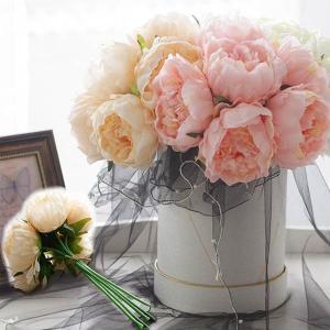 1束6本 花束 エレガントローズ 薔薇 牡丹 ピオニー ブーケ ブートニア アーティフィシャルフラワー フェイクフラワー 造花|peachy