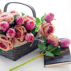 単品/1本 ヨーロピアンローズ 薔薇 牡丹 ピオニー アーティフィシャルフラワー バラ イミテーション ディスプレイ|peachy