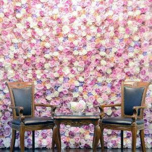 フラワーウォール 花壁 フラワーパネル 空間演出 ウェディング ディスプレイ 壁掛け アーティフィシャルフラワー フェイクフラワー 造花|peachy
