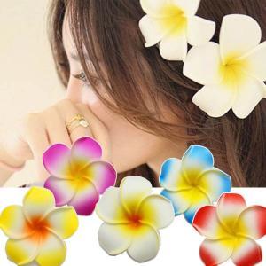 3個セット プルメリア ヘアクリップ ヘアピン ハワイアン 造花 髪飾り トロピカル アジアンテイスト|peachy