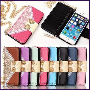 iPhone6/6s plus  iphone7  レザーケース 手帳型 チェーンバッグ ポシェット フリップ スタンド 保護カバー カードホルダー レースデザイン (全8色)|peachy