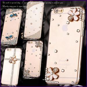 iPhone6/iPhone6 plus デコケース スマホケース ラインストーン スワロ シンプルデザイン ハードカバー 保護カバー ジャケット型 十字架 花 (全5種)|peachy