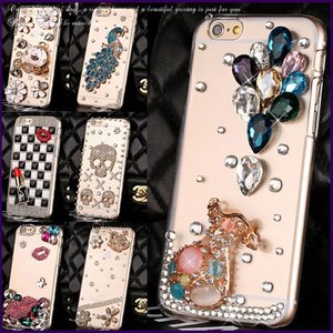 iPhone6/6s plus デコケース スマホケース ラインストーン スワロ カラフルビジュー ハードカバー 保護カバー ジャケット型 スカル 孔雀(全9種)|peachy