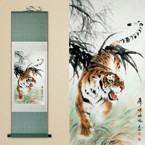 30×100cm アート掛け軸 絹 シルク転写印刷 水墨画 虎 タイガー アート絵画 スクロール リビング 寝室 インテリア|peachy