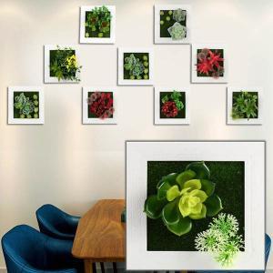 壁掛3D立体 15×15cm 多肉植物 寄せ植え グリーンフレームアレンジ 壁掛け アレンジ 人工造花 樹木 インテリア フレームアート|peachy