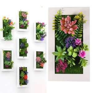 壁掛3D立体 長方形 多肉植物 寄せ植え グリーンフレームアレンジ 壁掛け アレンジ 人工造花 樹木 インテリア フレームアート|peachy