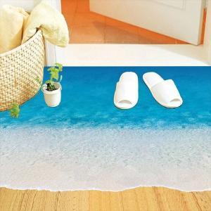 ウォールステッカー 床用 砂浜 海 だまし絵 トリックアート インテリアステッカー リアル 転写 DIY 剥がせる