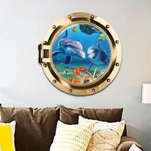 だまし絵  ウォールステッカー 潜水艦窓 イルカ 海 トリックアート 壁デコレーション 北欧風 DIY 剥がせる|peachy