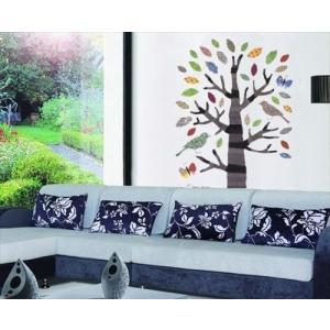 ウォールステッカー ちぎり絵 カラフルな木 アートステッカー インテリアシール 壁デコレーション 北欧風 DIY 剥がせる|peachy