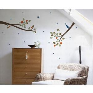 ウォールステッカー 枝とウサギと星 アートステッカー インテリアシール 壁デコレーション 北欧風 DIY 剥がせる|peachy