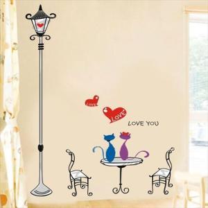 ウォールステッカー 街灯と猫 カフェテラス アートステッカー インテリアシール 壁デコレーション 北欧風 DIY 剥がせる|peachy