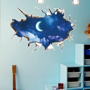 ウォールステッカー 壁のひび割れ穴 月夜 ムーン 空 だまし絵 アート インテリアシール 窓枠 壁デコレーション 北欧風 DIY リビング peachy