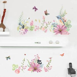 ウォールステッカー 水彩画タッチ コラージュ 草花 ガラスにも使える アート インテリア  壁デコ 北欧風 DIY リビング peachy