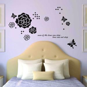 ウォールステッカー  モノクロ 薔薇と蝶 アート インテリアシール 壁デコレーション 北欧風 DIY リビング|peachy