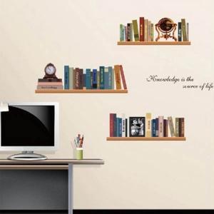 ウォールステッカー 本棚 ブックシェルフ だまし絵 アート インテリア 壁デコ 北欧風 DIY リビング|peachy