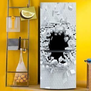 冷蔵庫ステッカー トリックアート 壁の穴 ホワイトレンガ 破壊 シンプル だまし絵シール インテリア DIY peachy