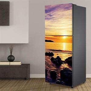 冷蔵庫ステッカー トリックアート 夕日 海辺 サンセット だまし絵シール インテリア DIY リメイク peachy