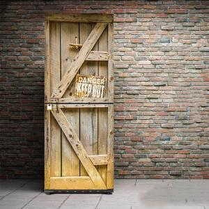 冷蔵庫ステッカー トリックアート 木製ドア 古工場 ホラー系 だまし絵シール インテリア DIY リメイク peachy