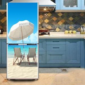 冷蔵庫ステッカー トリックアート ビーチ サンチェアー リゾート 海岸 だまし絵シール インテリア DIY リメイク peachy