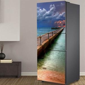 冷蔵庫ステッカー トリックアート 海へと続く桟橋 エメラルドグリーン 海辺 だまし絵シール インテリア DIY リメイク peachy