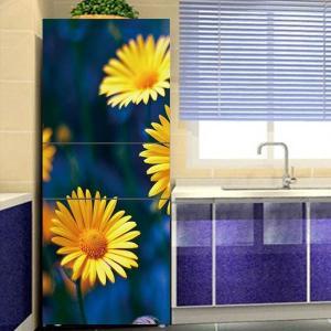 冷蔵庫ステッカー トリックアート 黄色い花 マーガレット フラワー だまし絵シール インテリア DIY リメイク peachy