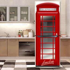 冷蔵庫ステッカー トリックアート 赤い電話ボックス ロンドン イギリス だまし絵シール インテリア DIY リメイク|peachy