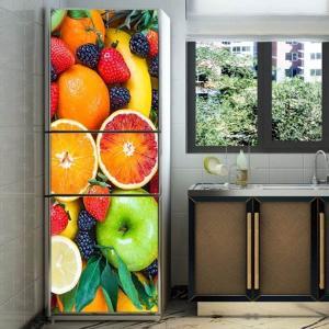 冷蔵庫ステッカー トリックアート フルーツ 果物 フレッシュ 新鮮 カラフル だまし絵シール インテリア DIY peachy