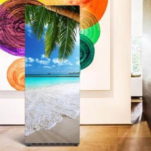 冷蔵庫ステッカー トリックアート ビーチ 砂浜 ヤシの葉 南国 リゾート だまし絵シール インテリア DIY リメイク peachy