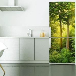 冷蔵庫ステッカー トリックアート 森林 フレッシュグリーン 癒し 風景画 だまし絵シール インテリア DIY リメイク peachy