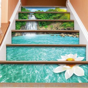 3D 階段ステッカー トリックアート 滝 南国 蓮 6ピース リゾート ウォールステッカー バリ風 インテリア DIY|peachy