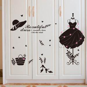 ウォールステッカー モノクロ キラキラファッション ドレス インテリアシール 壁デコレーション 北欧風 DIY リビング|peachy
